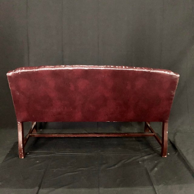 Burgundy British Chesterfield Burgundy Leather Bench Loveseat For Sale - Image 8 of 10