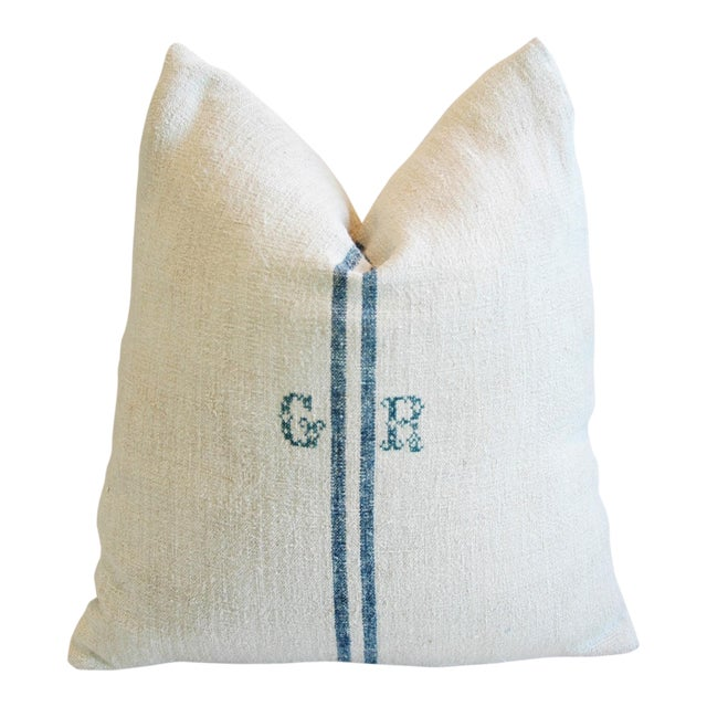 Blue Stripe French Grain Sack Down & Feather Pillow - Image 1 of 6