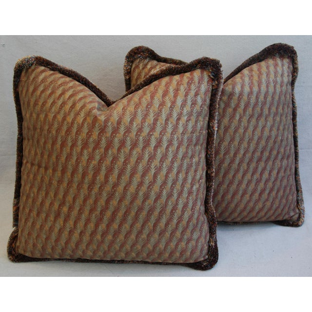A pair of large custom-tailored Italian Mariano Fortuny pillows. Pillow fronts are a vintage/never used premium Egyptian...