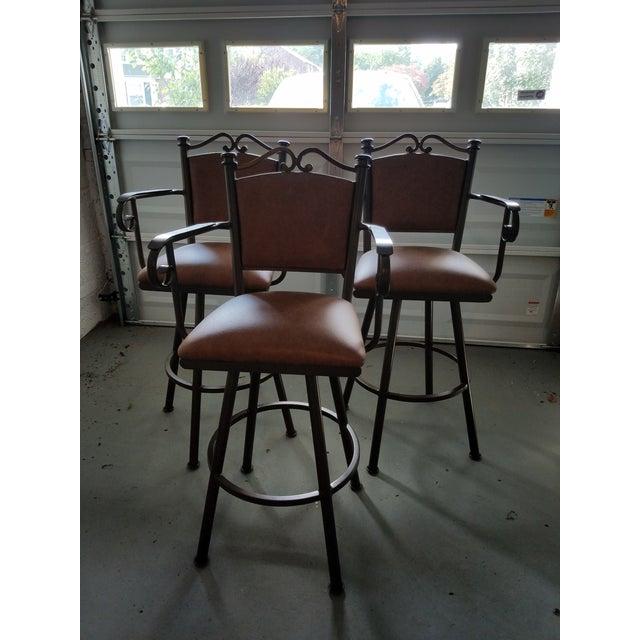 Swivel Leather & Metal Bar Stools - Set of 3 - Image 9 of 10