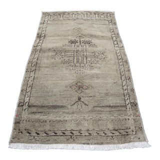 Vintage Muted Tone Turkish Carpet - 1′6″ × 2′11″