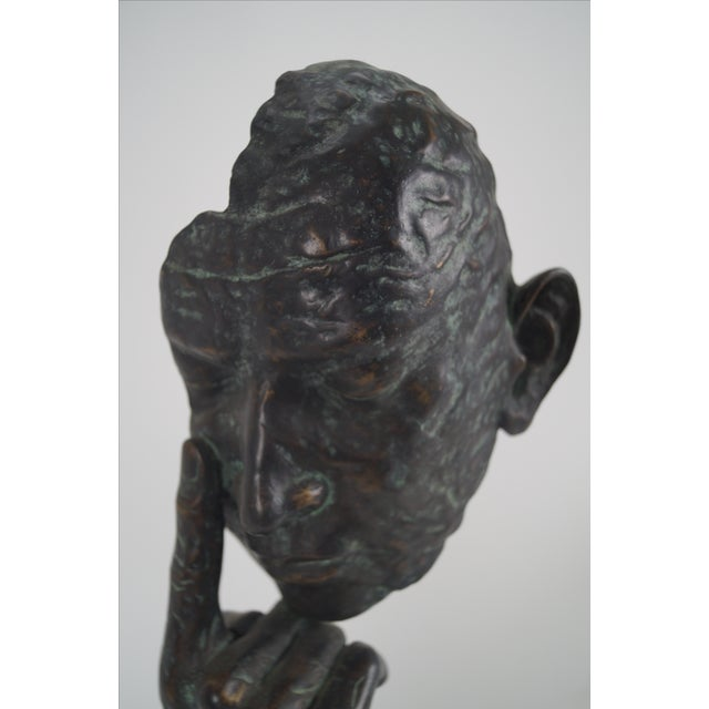Maitland Smith Bronze Hands & Face Sculpture For Sale - Image 7 of 10