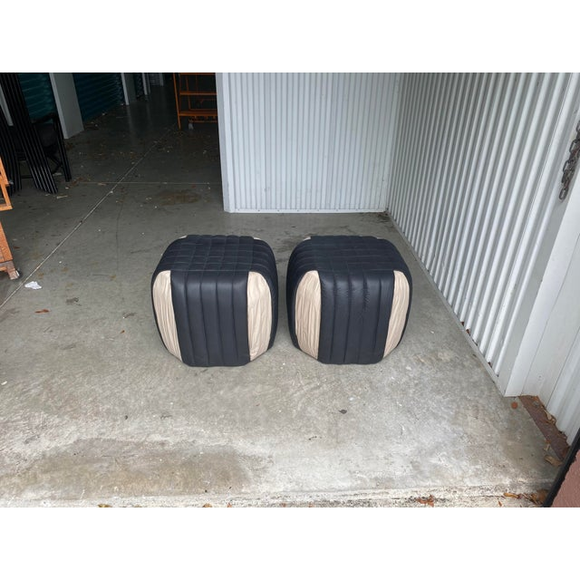 Black 1980s Poufs Upholstered Ottomans - a Pair For Sale - Image 8 of 8