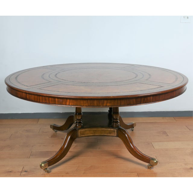 Hollywood Regency Large Maitland Smith Round Dining Table For Sale - Image 3 of 13
