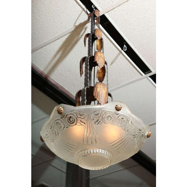 Metal French Art Deco Chandelier by Sabino For Sale - Image 7 of 10