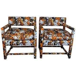 1970s Vintage Milo Baughman Open-Arm Lounge Chairs- A Pair For Sale