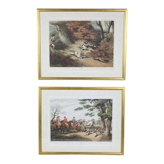 English Hunting Lithograph Prints - Set of 2 For Sale
