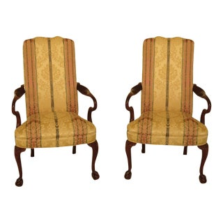 1990s Vintage Hickory Chair Co. Upholstered Mahogany Library Chairs - a Pair For Sale