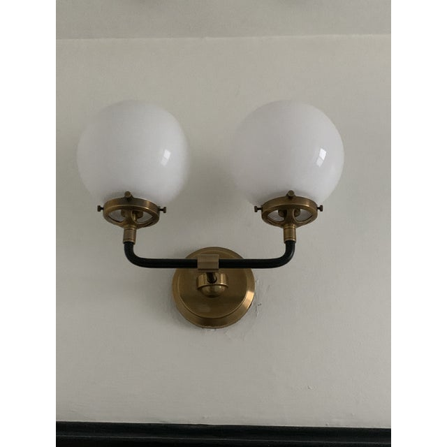 Contemporary Visual Comfort Bistro Sconce in Antiqued Brass For Sale - Image 3 of 6