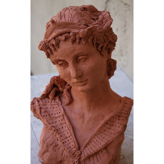 "Ceramic Sarah Myers ""Woman With a Tiara"" Terracotta Sculpture For Sale - Image 7 of 9"