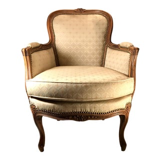 Antique French Louis XV Bergere Barrel Back Chair For Sale