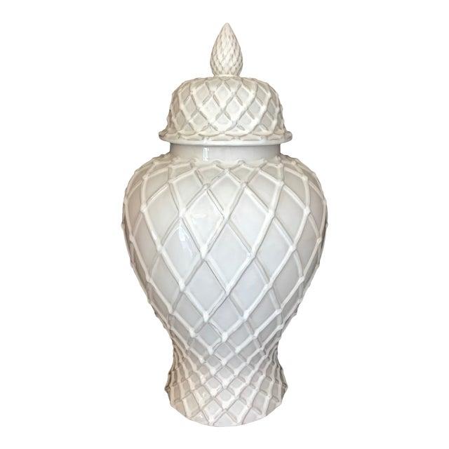 Exquisite Blanc De Chine Lidded Vase With Lattice Design, Italy For Sale
