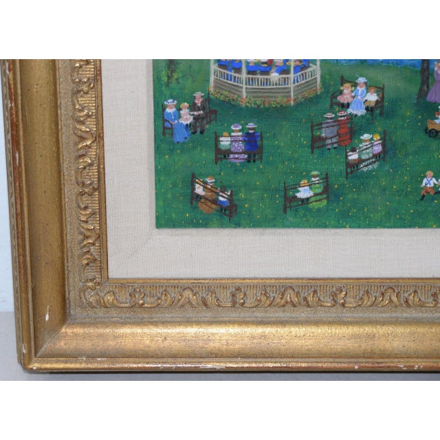 """Mollie Simon """"Bandstand in the Park"""" Vintage Folk Art Painting C.1960s For Sale - Image 4 of 8"""