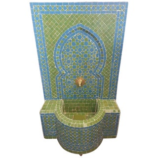 Modern Turquoise & Lime Green Moroccan Mosaic Tile Fountain For Sale