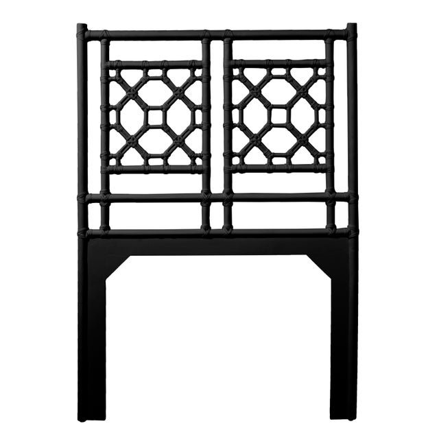 Chinoiserie Lattice Back Headboard Twin - Black For Sale - Image 3 of 3