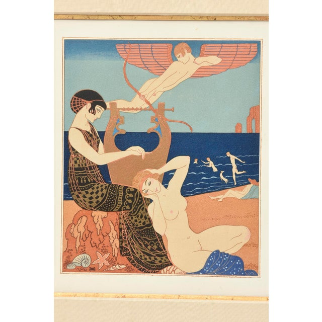 "George Barbier Georges Barbier Custom Framed Pochoir from the Portfolio "" Chansons de Biilitis"" For Sale - Image 4 of 9"