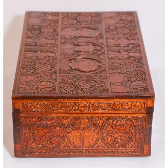 Early 19th Century Large Early 19th Century Antique Hand Carved Wooden Decorative Box For Sale - Image 5 of 13