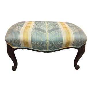 Early 20th Century Upholstered Chippendale Style Walnut Stool For Sale