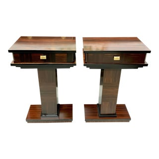 1940s French Art Deco Exotic Macassar Ebony Nightstand or Side Tables - a Pair For Sale
