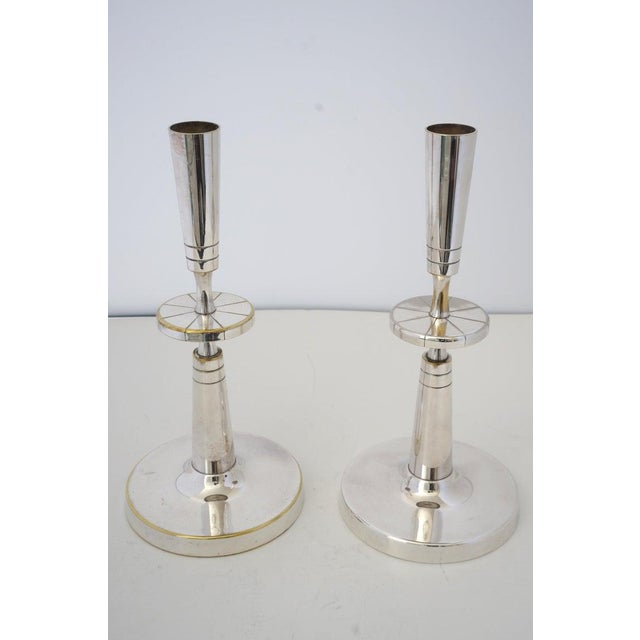 Mid 20th Century Mid-Century Modern Tommi Parzinger Mueck-Cary Silverplate Candlesticks - a Pair Candle Holders For Sale - Image 5 of 13