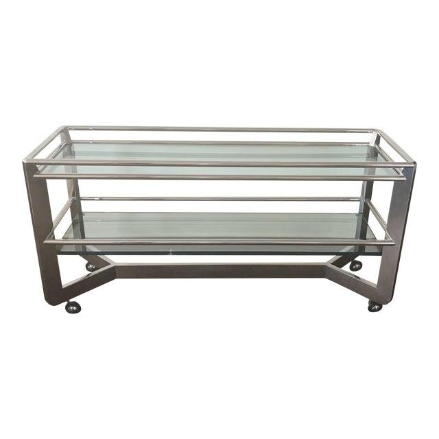 Chrome & Glass Shelf Buffet For Sale