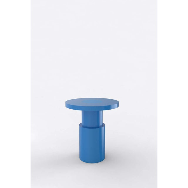 Postmodern Contemporary 105C Blue End Table by Orphan Work For Sale - Image 3 of 3