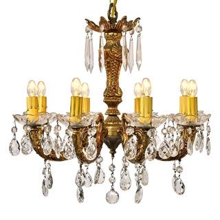 20th Century Baroque Brass Eight Arm Chandelier For Sale