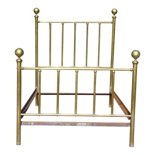 Antique Early 20th Century High Back Brass Cannonball Full Double Bed Frame For Sale
