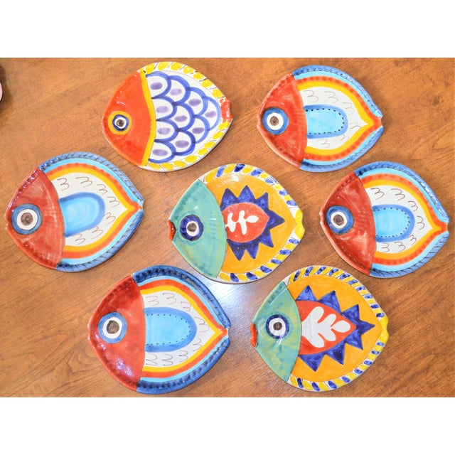 1980s Boho Chic DeSimone Terra Cotta Fish Plate For Sale - Image 12 of 13