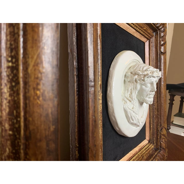 Mid 19th Century 19th Century Glazed Chalkware Wall Mounting High Relief Bust Cameos - a Pair For Sale - Image 5 of 13