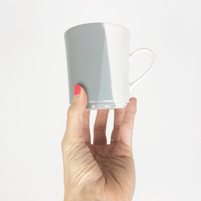 Modern Gray and White Mugs and Pitcher Set With Asymmetrical Line Pattern - 5 Piece Set For Sale - Image 4 of 13