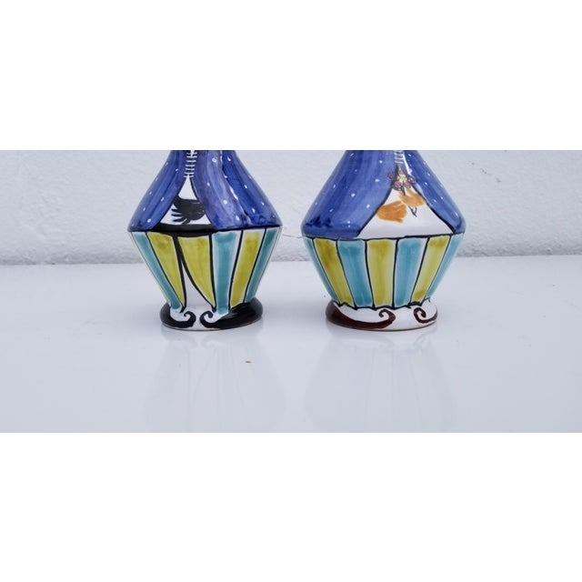 1970s Vintage Italian Hand Painted Ceramic Salt and Pepper Shakers - A Pair For Sale - Image 4 of 9