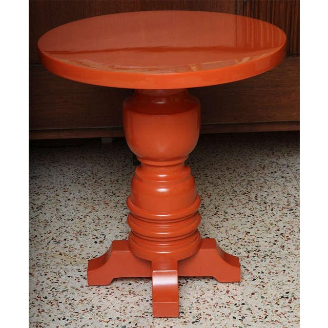 Architectural Mid Century Modern Side Tables, Orange Lacquered 1960s. - Image 6 of 11