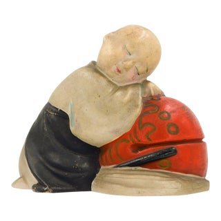 Japanese Miniature Statue Clay Doll Ceramic Wabi Sabi Gosho Sleeping Boy Antique Vintage For Sale