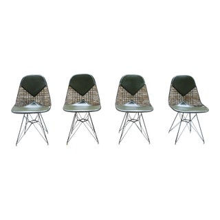 Vintage Mid Century Herman Miller Eames Forest Green Dkr-2 Bikini Wire Chairs- Set of 4 For Sale
