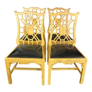 Chinoiserie Style Dining Chairs- Set of 4 For Sale