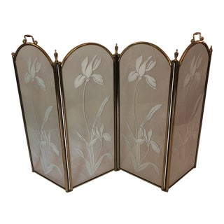 Hollywood Regency Etched Glass Fireplace Screen For Sale
