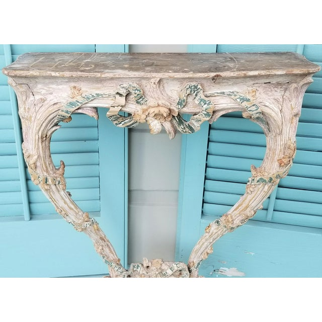 18th C Louis XVI Carved & Painted Wood Console With Marble Top For Sale - Image 4 of 13