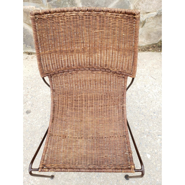 1950s Mid Century Frederic Weinberg Wrought Iron & Rattan Lounge Chair For Sale - Image 5 of 13
