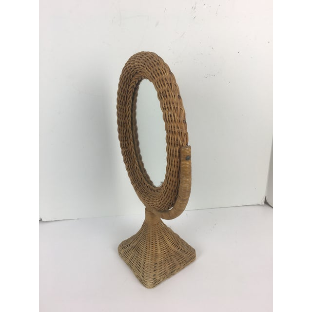 Asian 1970s Boho Chic Rattan Table Mirror For Sale - Image 3 of 5