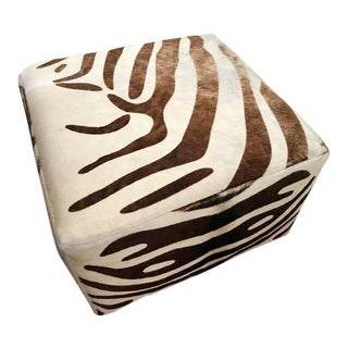 Contemporary Ralph Lauren Patterned Cowhide Upholstered Ottoman