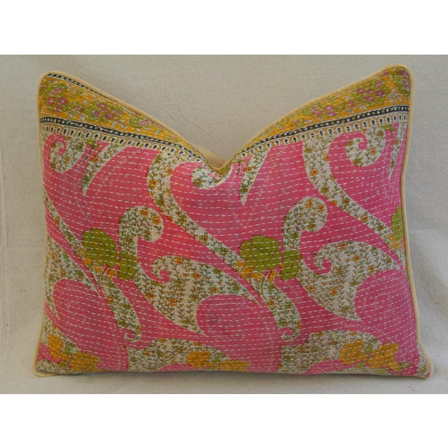 Vintage Kantha Feather & Down Textile Pillow - Image 2 of 5