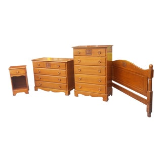 Vintage 4 Piece Mid Century 1950s Maple Child's Bedroom Set W/ Carved Sailing Ship Drawer For Sale