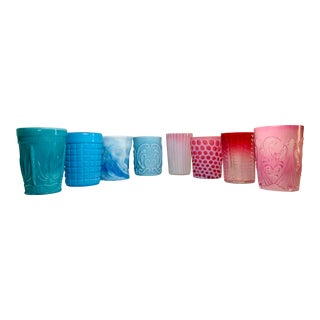Late 19th Century Curated Collection of American Art Glass Tumblers - Set of 8 For Sale