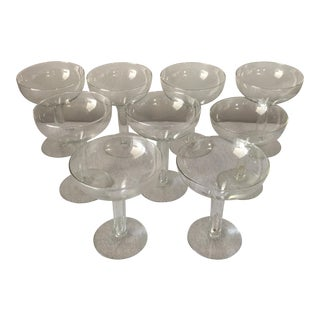 Contemporary Hollow Champagne Glasses - Set of 9 For Sale