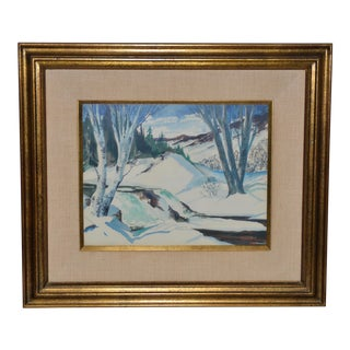 Lucille Hobbie (1915-2008) Winter Landscape Painting C.1952 For Sale