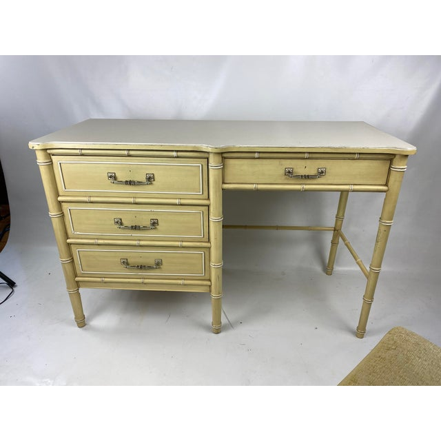 """1960s Henry Link """"Bali Hai"""" faux bamboo desk w/ chair. Chair height 32.75 Width: 17.5 Depth: 15 Seat height: 17.5"""