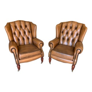 Vintage Mid-Century English Leather Chesterfield Wingback Chairs, Cognac – a Pair For Sale