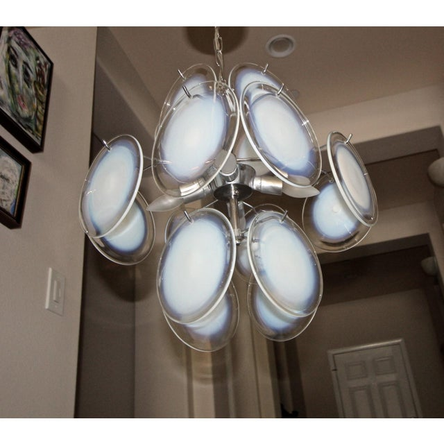 Italian Vistosi Murano Clear & Opalescent Glass Disc Chandelier Pendant Light For Sale - Image 3 of 13