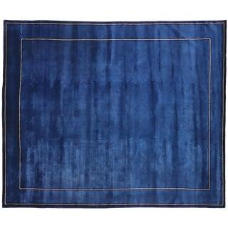 Indigo Blue Contemporary Chinese Style Rug - 8′5″ × 10′